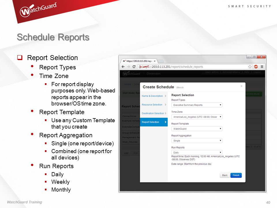 Schedule Reports Report Selection Report Types Time Zone