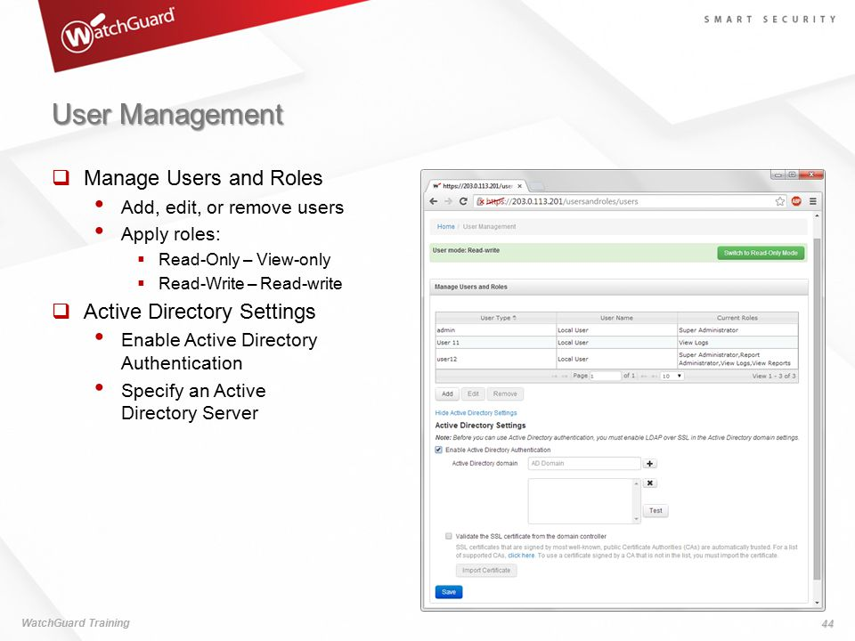 User Management Manage Users and Roles Active Directory Settings