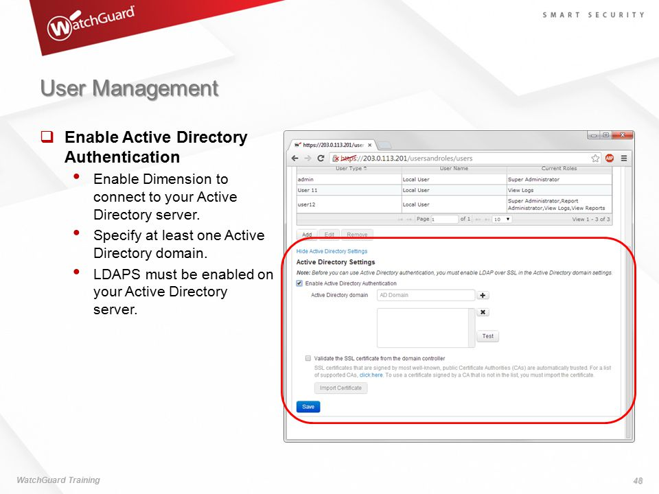 User Management Enable Active Directory Authentication