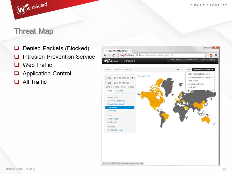 Threat Map Denied Packets (Blocked) Intrusion Prevention Service
