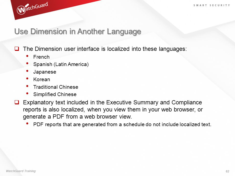 Use Dimension in Another Language