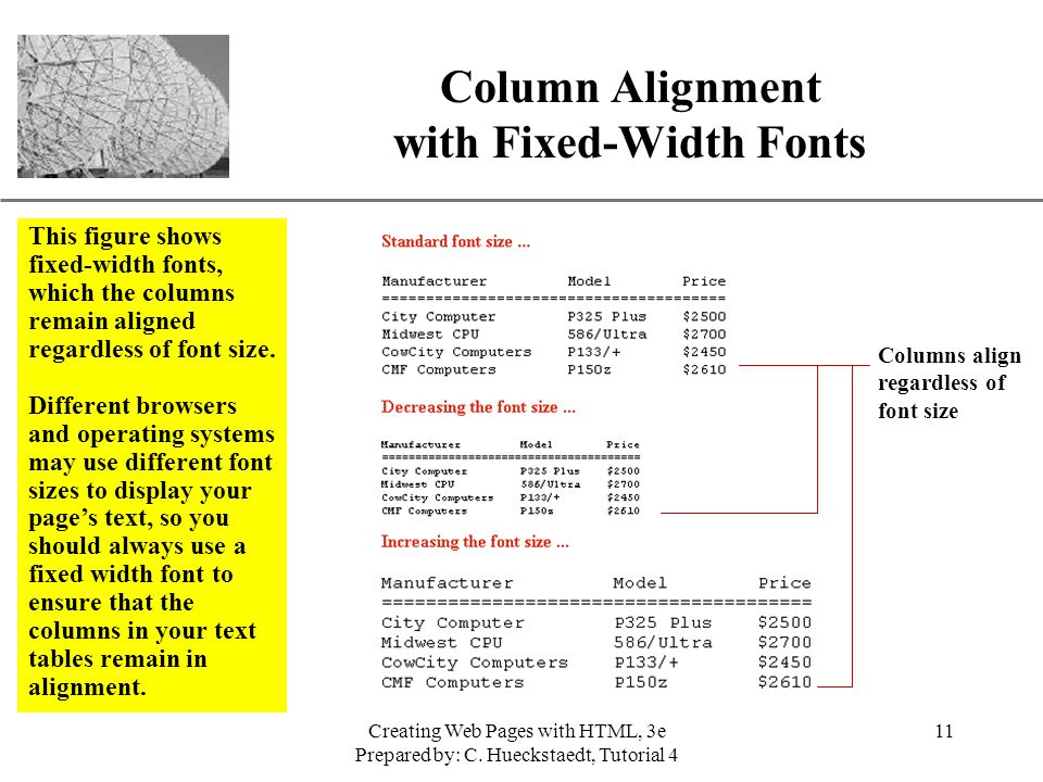Column Alignment with Fixed-Width Fonts