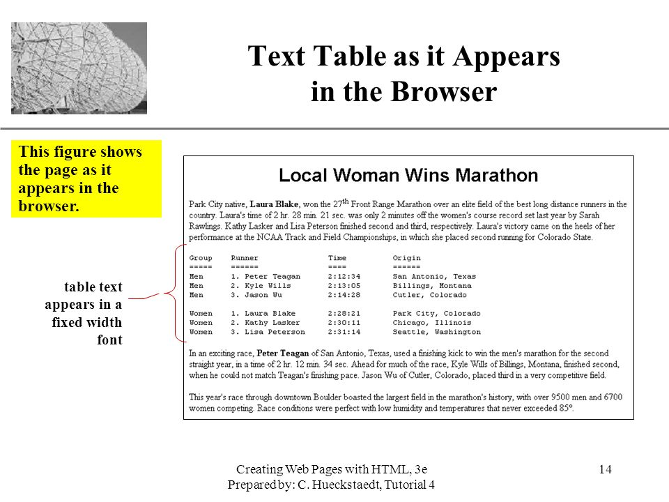 Text Table as it Appears in the Browser