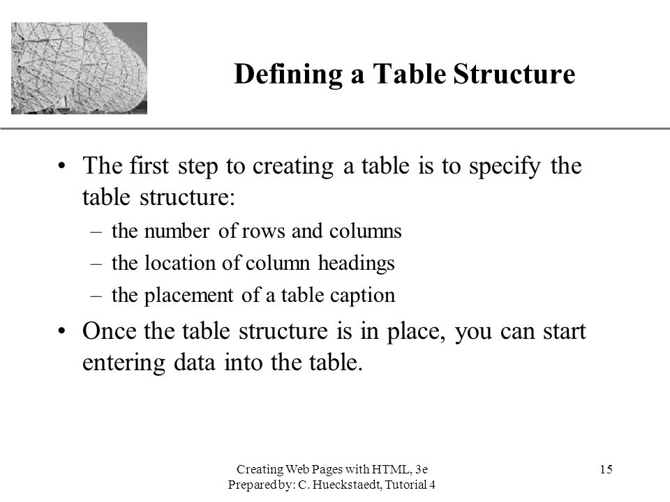 Defining a Table Structure