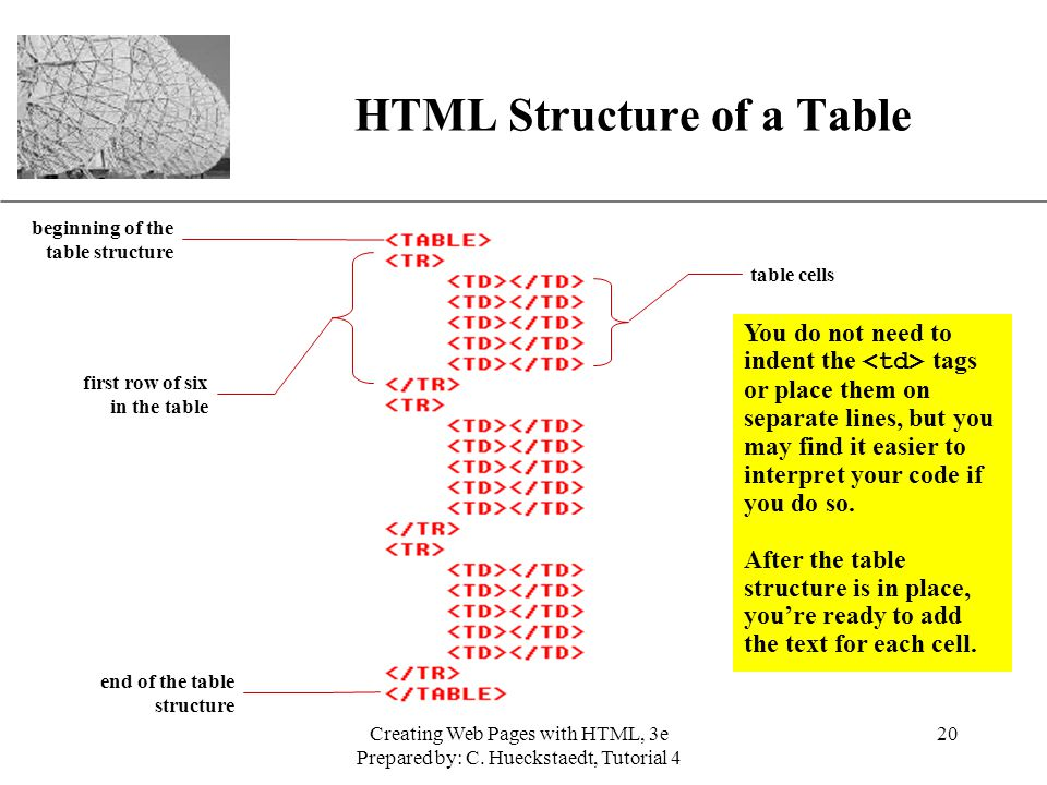 HTML Structure of a Table
