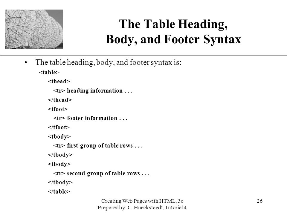 New perspectives on creating web pages with html ppt for Html table syntax