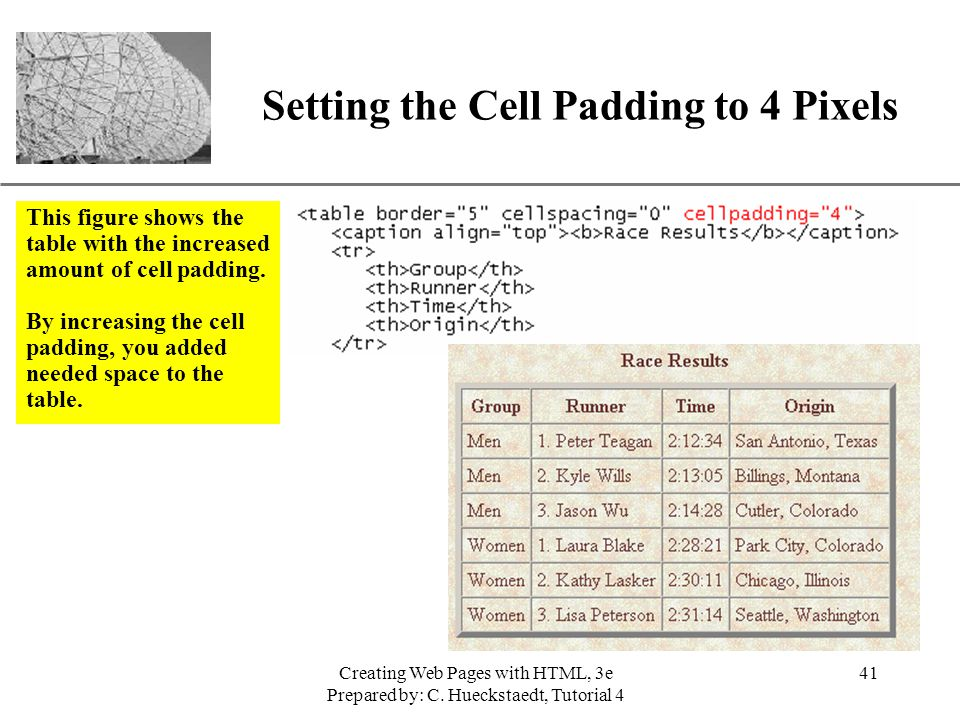 Setting the Cell Padding to 4 Pixels