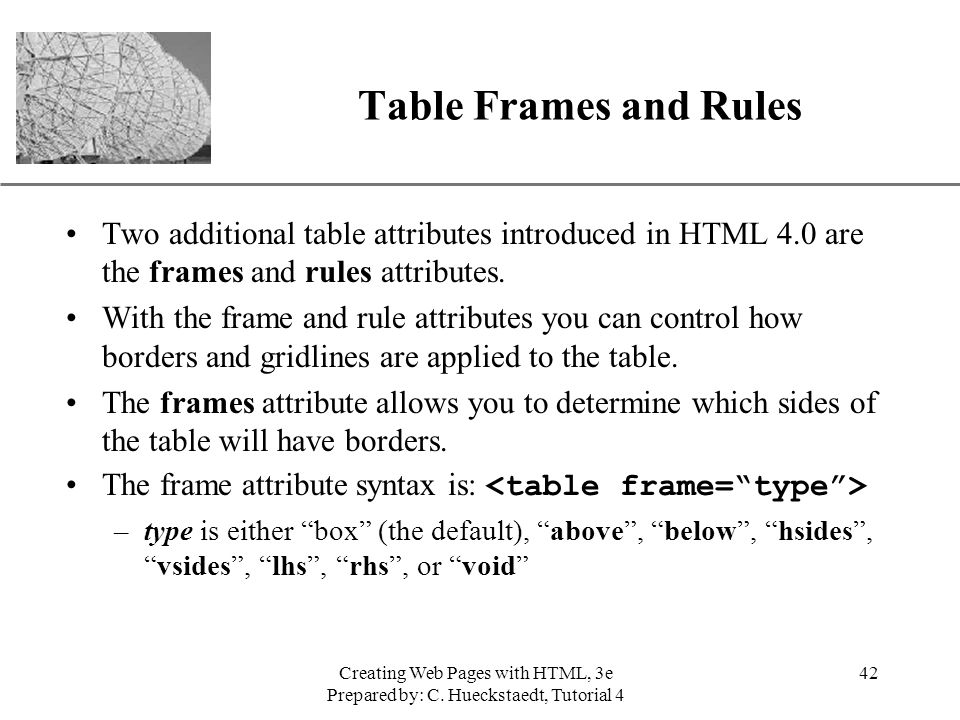 Table Frames and Rules Two additional table attributes introduced in HTML 4.0 are the frames and rules attributes.