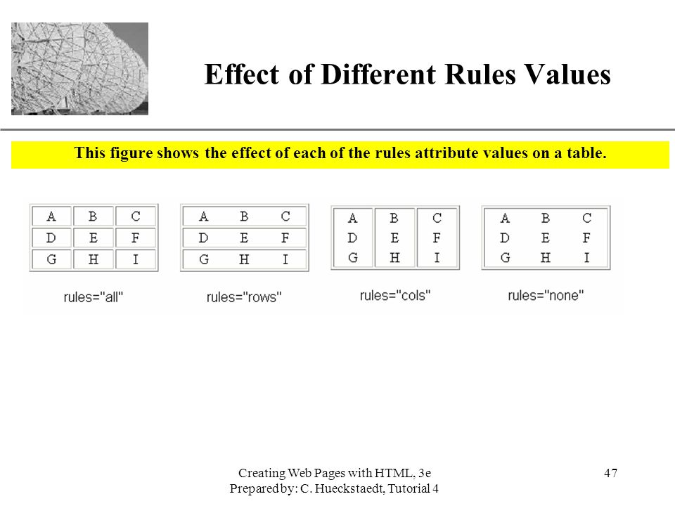 Effect of Different Rules Values