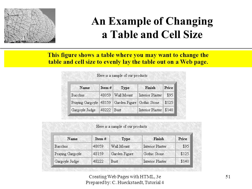 An Example of Changing a Table and Cell Size