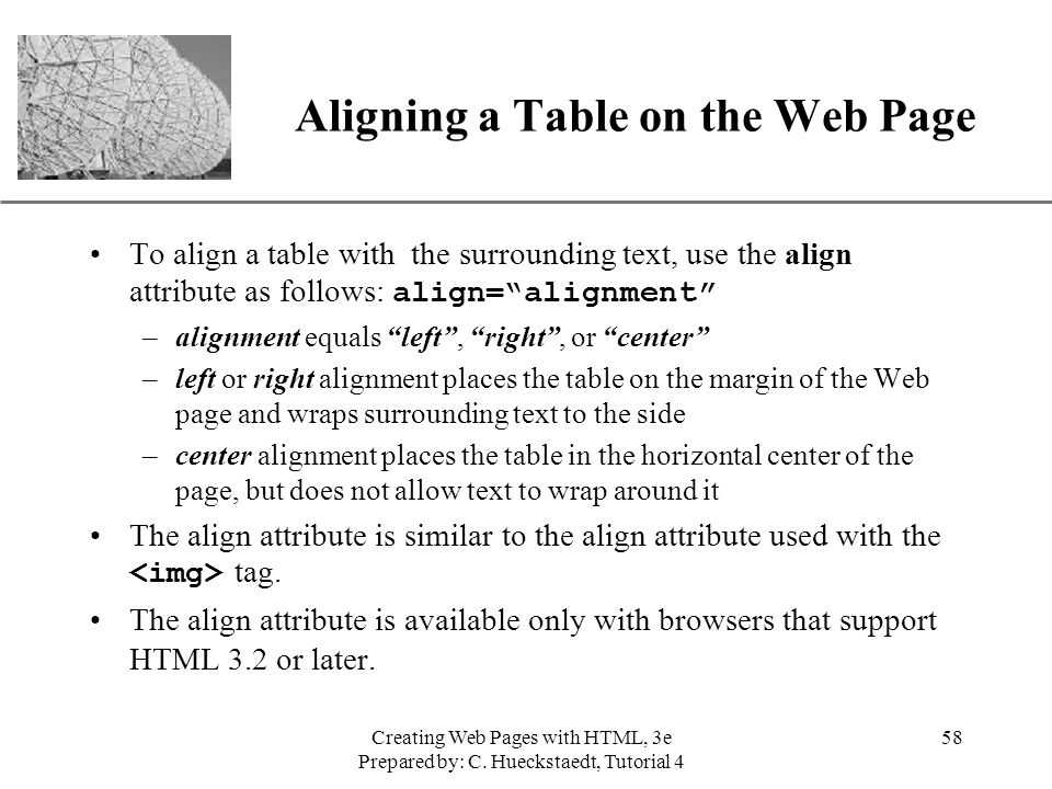Aligning a Table on the Web Page