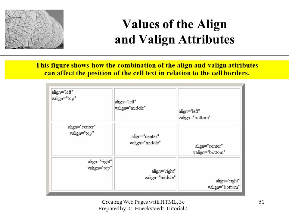 Values of the Align and Valign Attributes