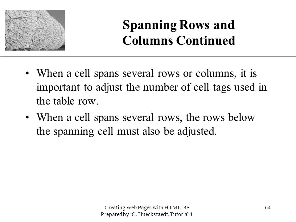 Spanning Rows and Columns Continued