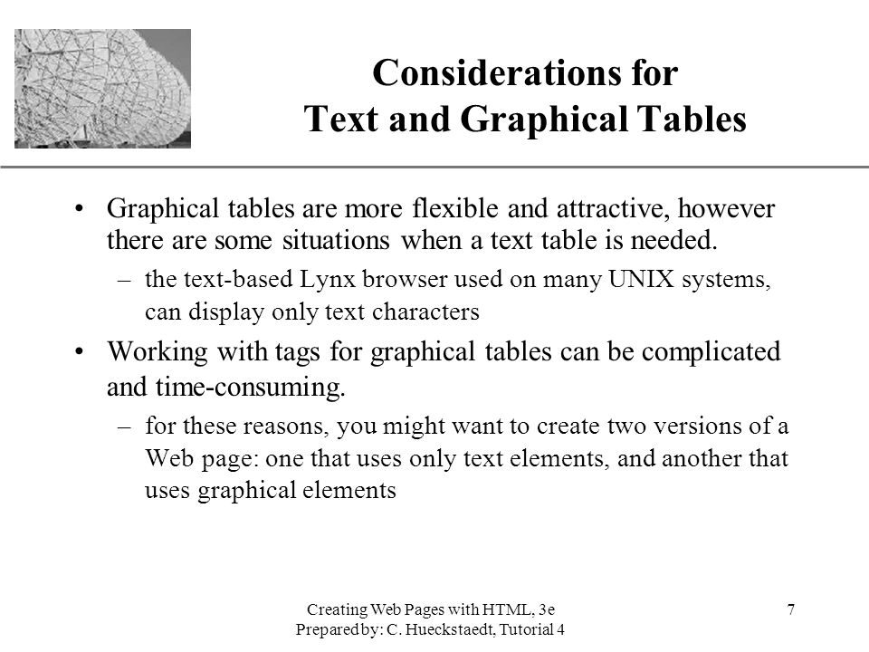 Considerations for Text and Graphical Tables