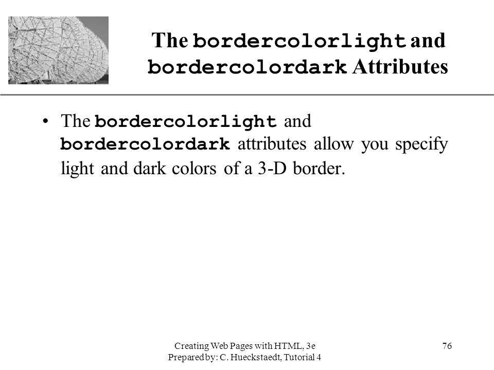 The bordercolorlight and bordercolordark Attributes