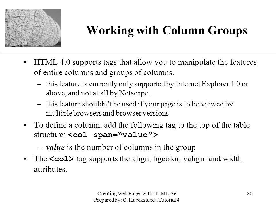 Working with Column Groups