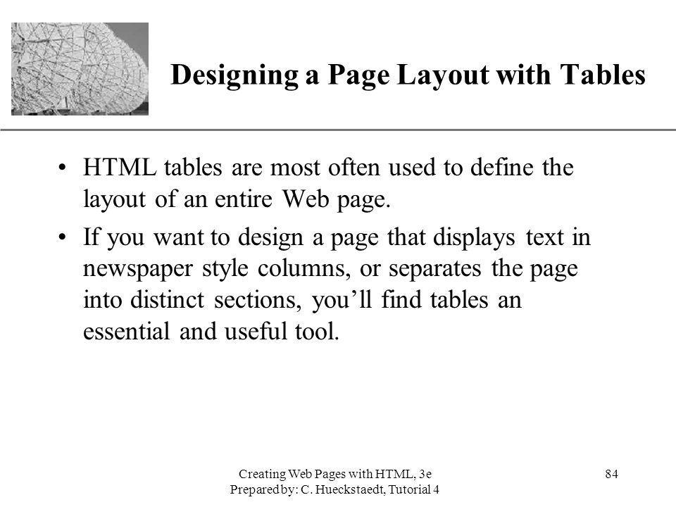 Designing a Page Layout with Tables