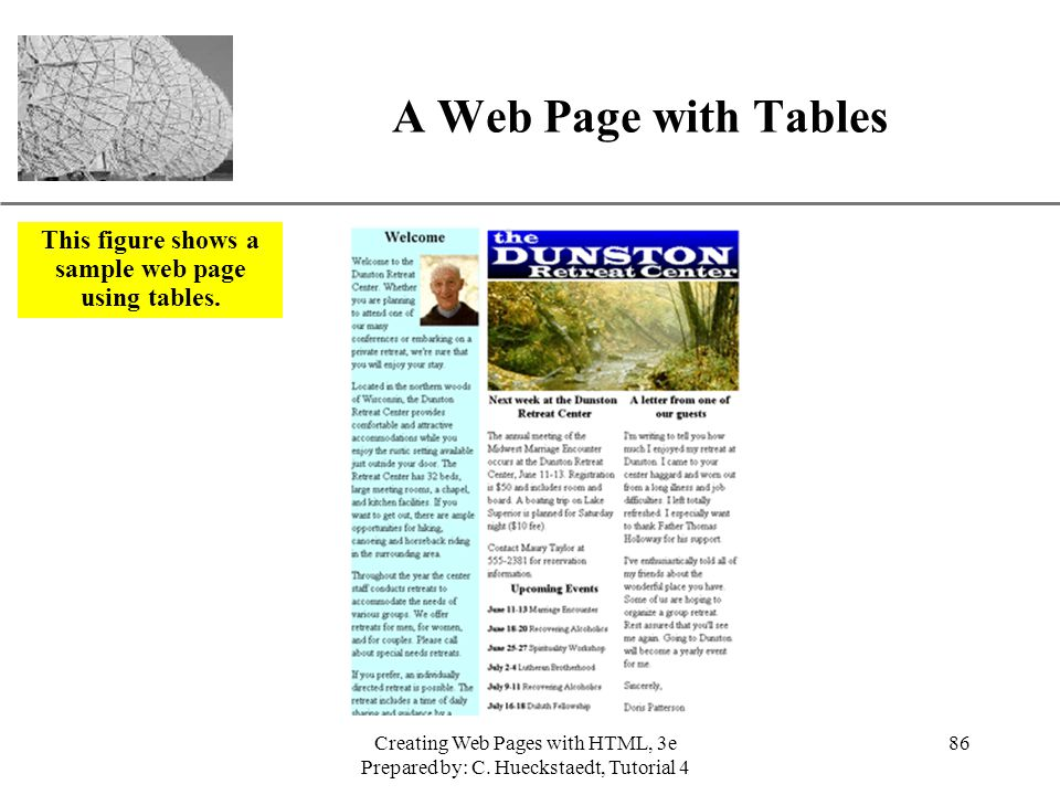 This figure shows a sample web page using tables.
