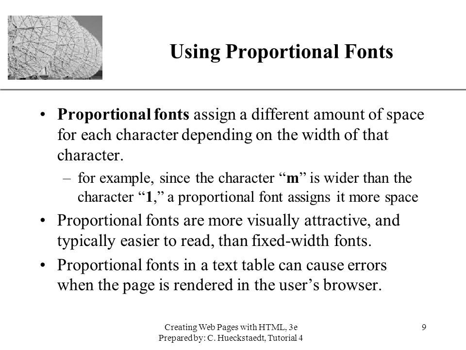 Using Proportional Fonts