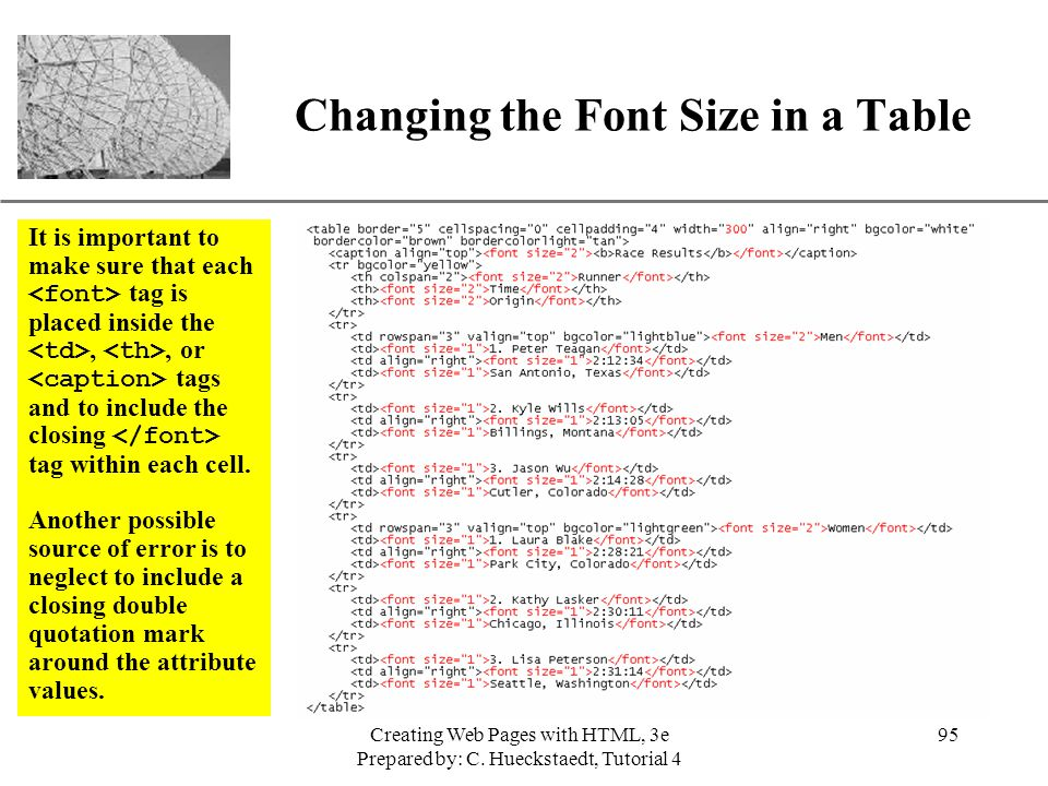 Changing the Font Size in a Table