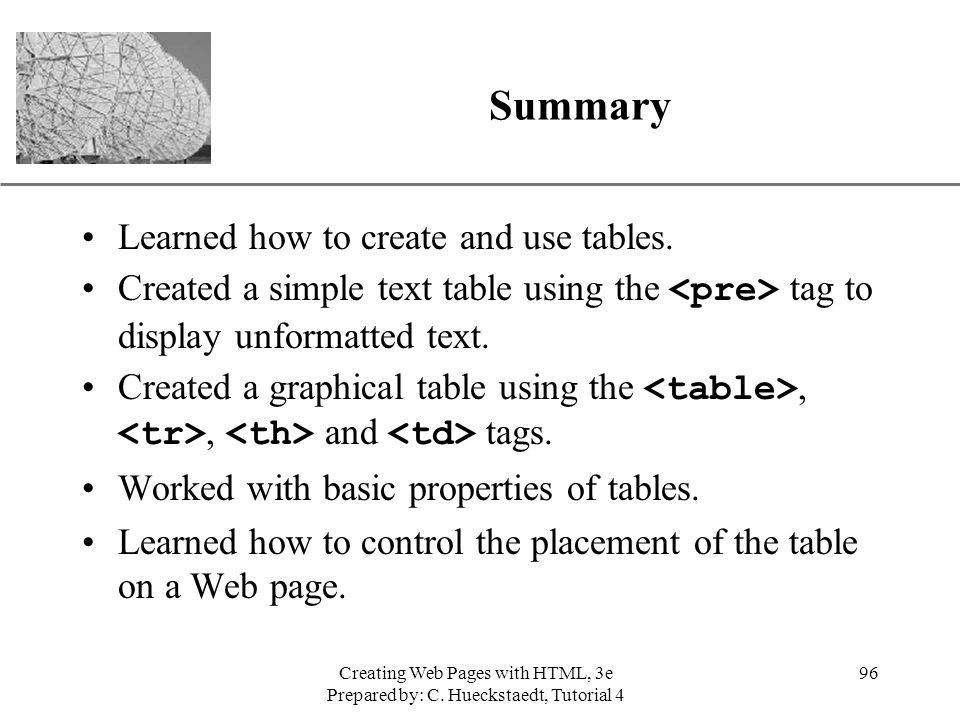 Summary Learned how to create and use tables.
