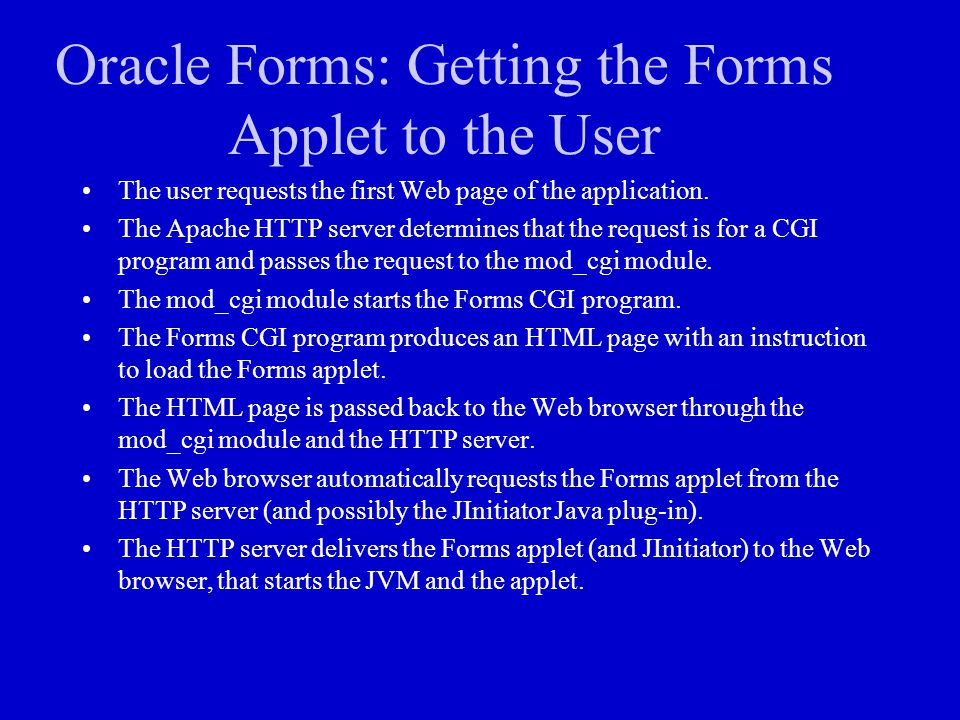 Oracle Forms: Getting the Forms Applet to the User