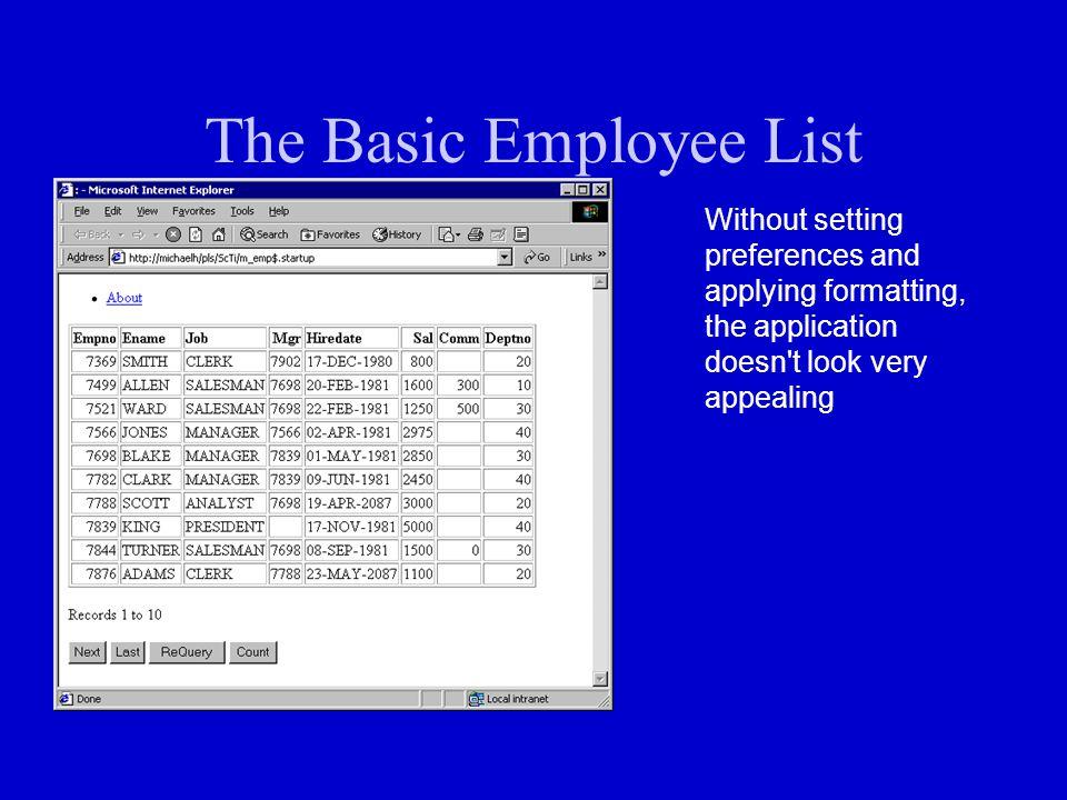 The Basic Employee List