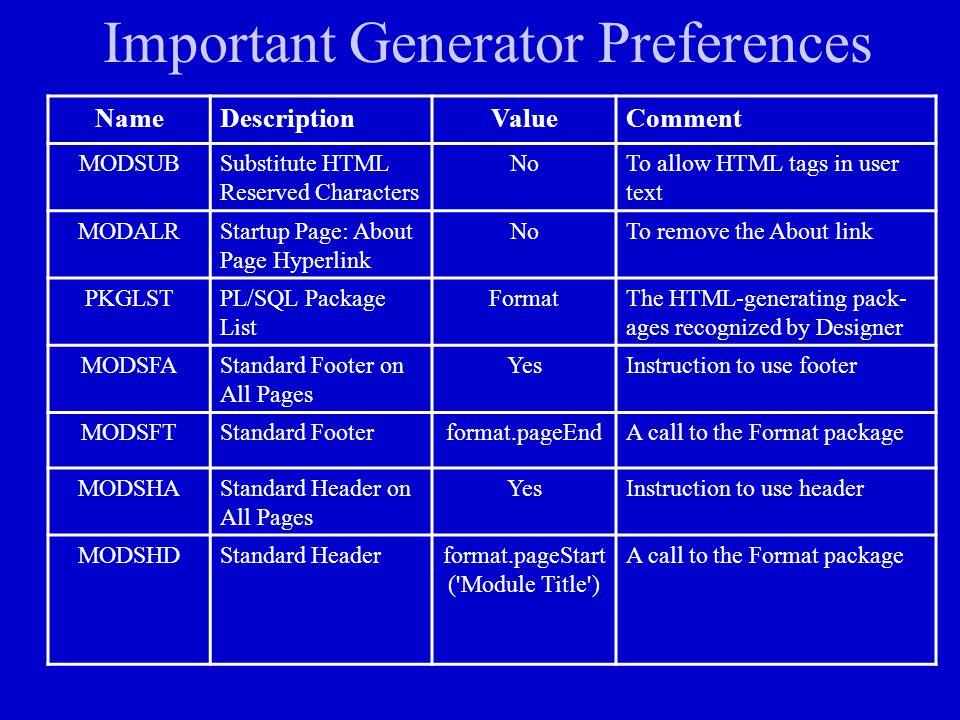 Important Generator Preferences
