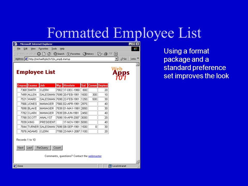Formatted Employee List