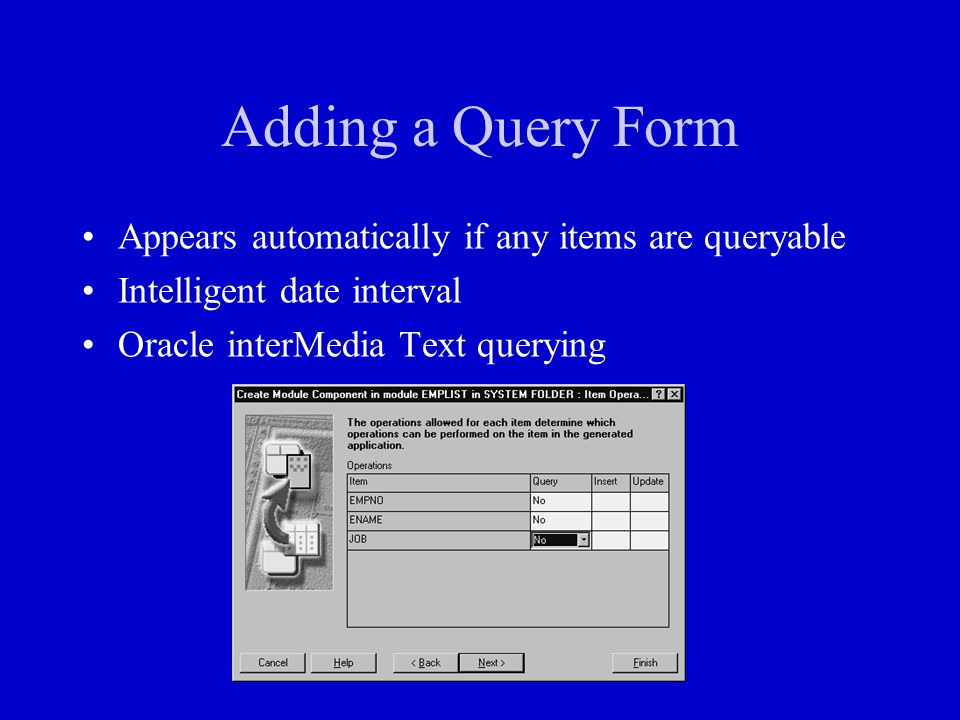 Adding a Query Form Appears automatically if any items are queryable