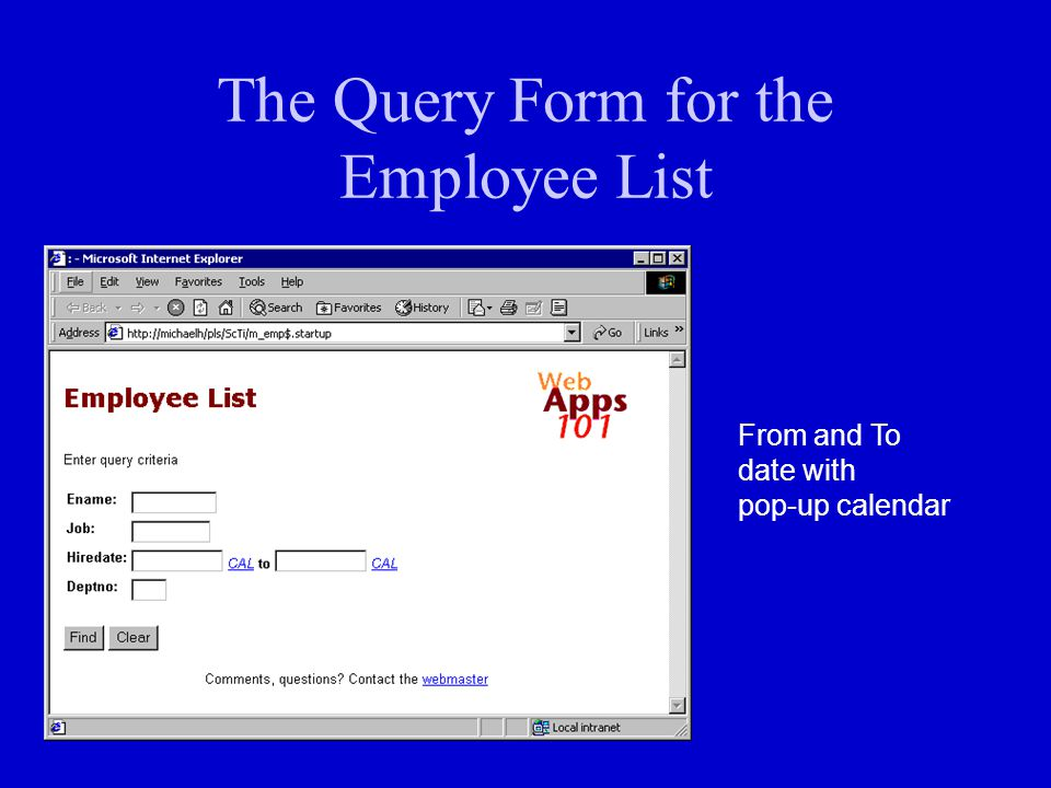 The Query Form for the Employee List