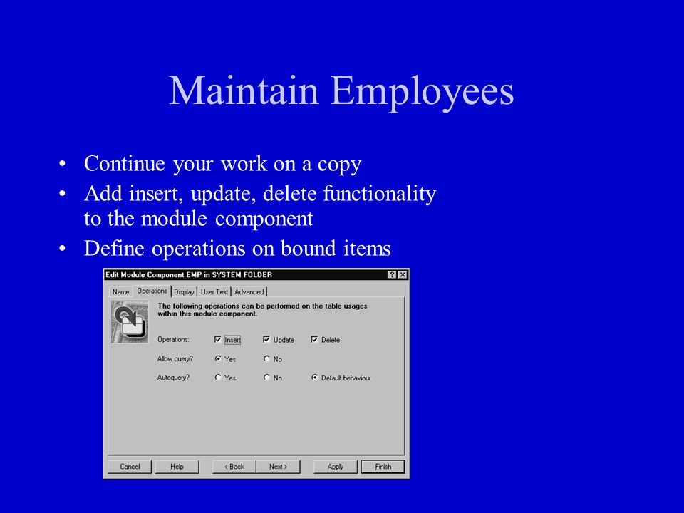 Maintain Employees Continue your work on a copy