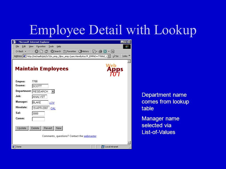 Employee Detail with Lookup