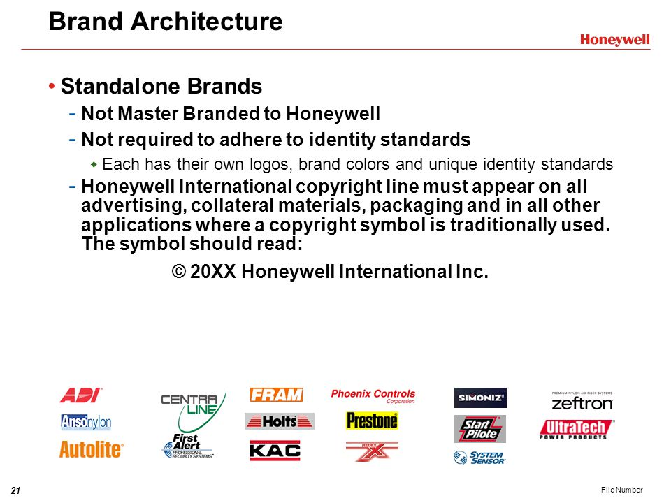 Brand Architecture Standalone Brands Not Master Branded to Honeywell