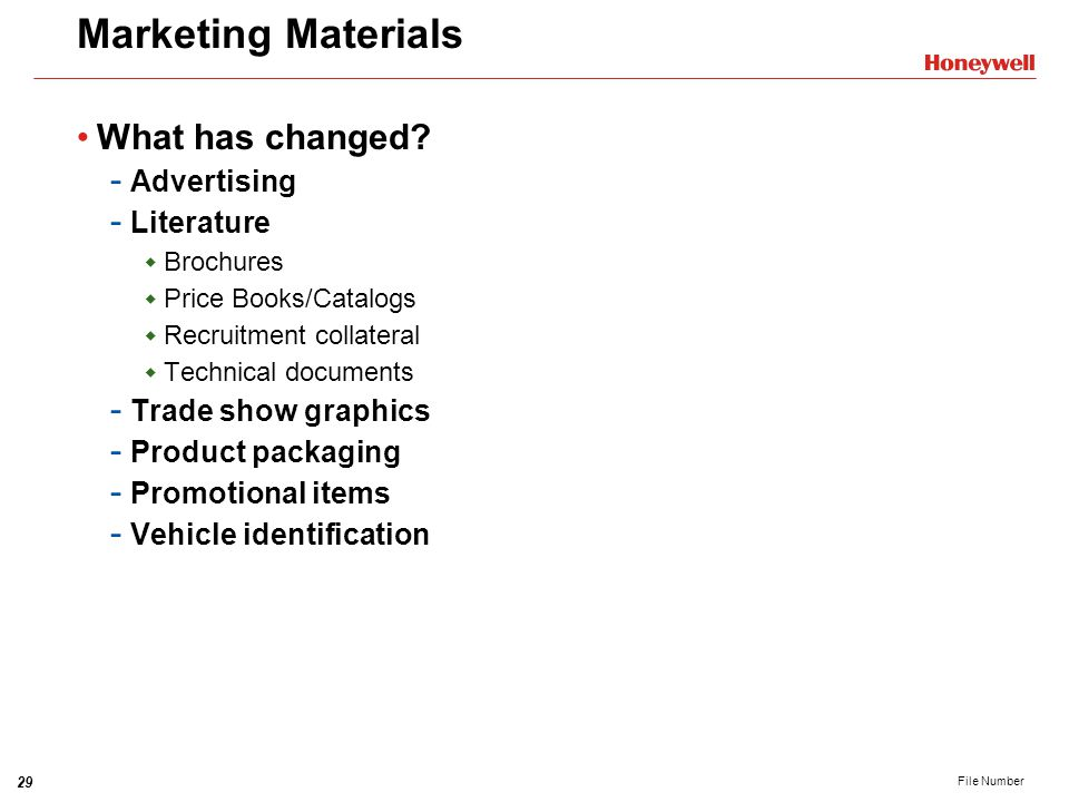 Marketing Materials What has changed Advertising Literature