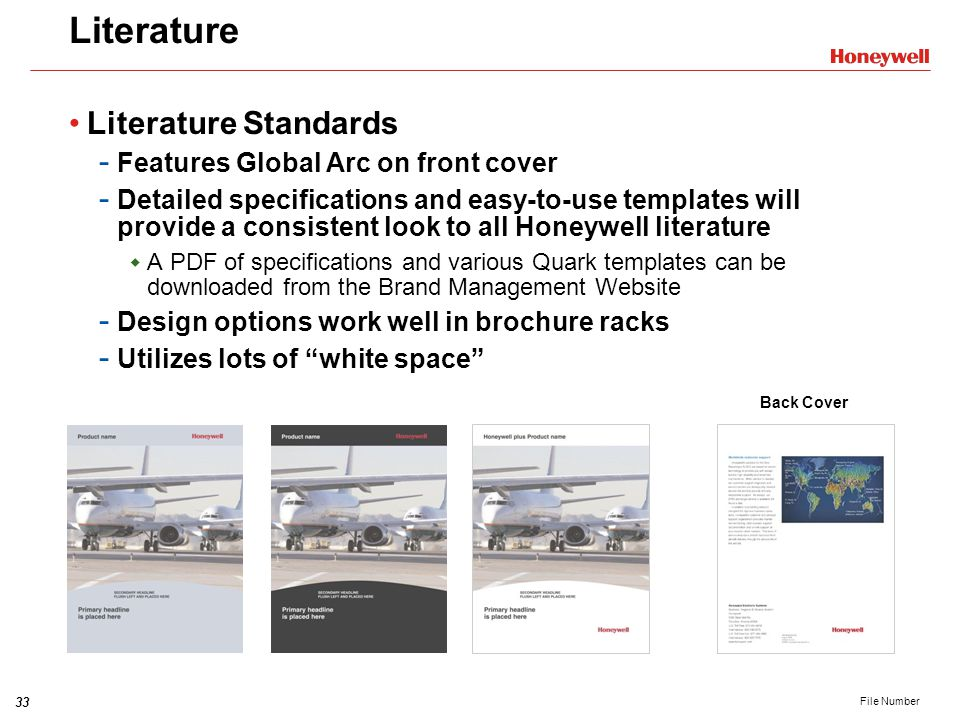 Literature Literature Standards Features Global Arc on front cover