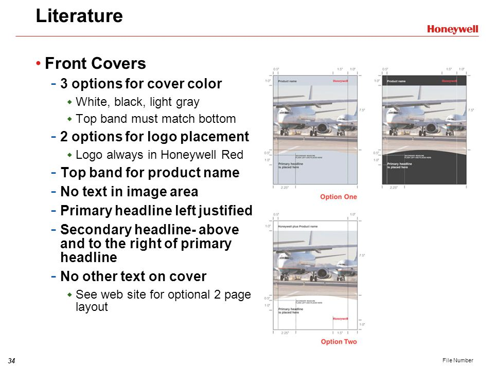 Literature Front Covers 3 options for cover color