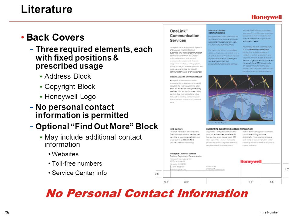 Literature Back Covers. Three required elements, each with fixed positions & prescribed usage. Address Block.