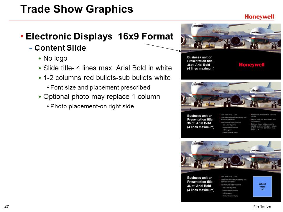 Trade Show Graphics Electronic Displays 16x9 Format Content Slide