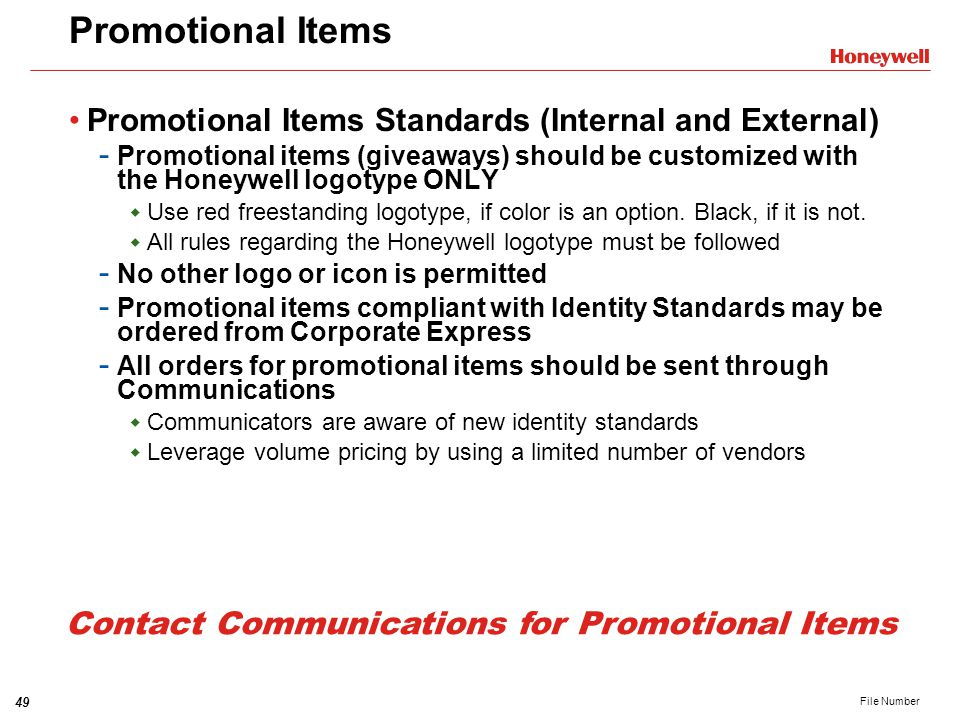 Contact Communications for Promotional Items
