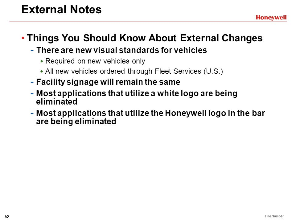 External Notes Things You Should Know About External Changes