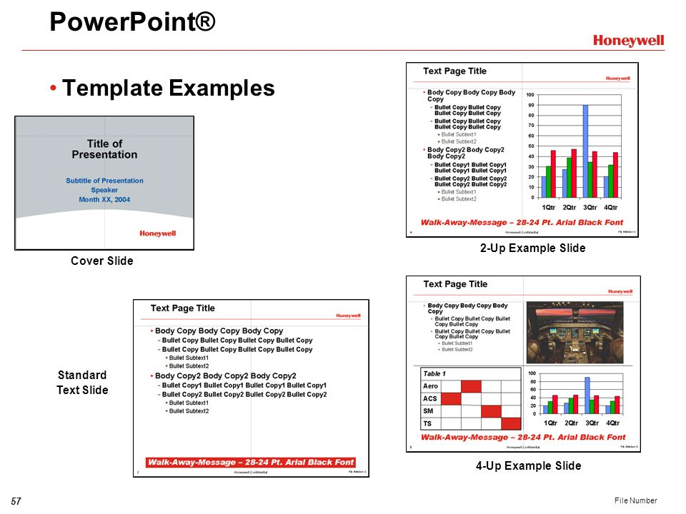 PowerPoint® Template Examples 2-Up Example Slide Cover Slide