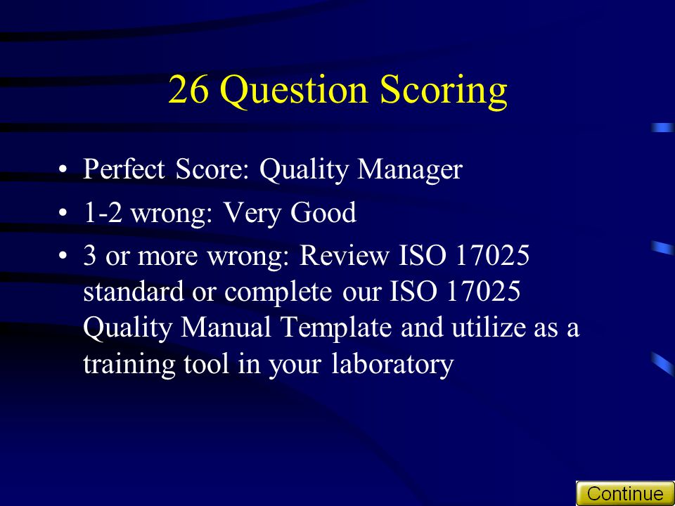 26 Question Scoring Perfect Score: Quality Manager