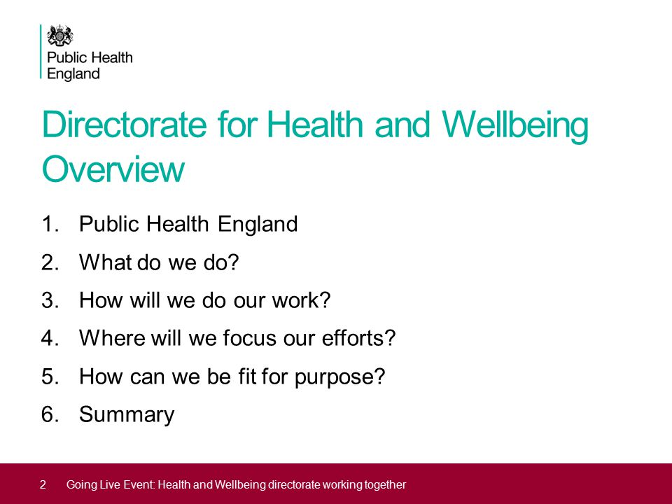 Directorate for Health and Wellbeing Overview