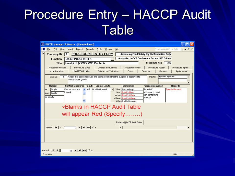 Procedure Entry – HACCP Audit Table