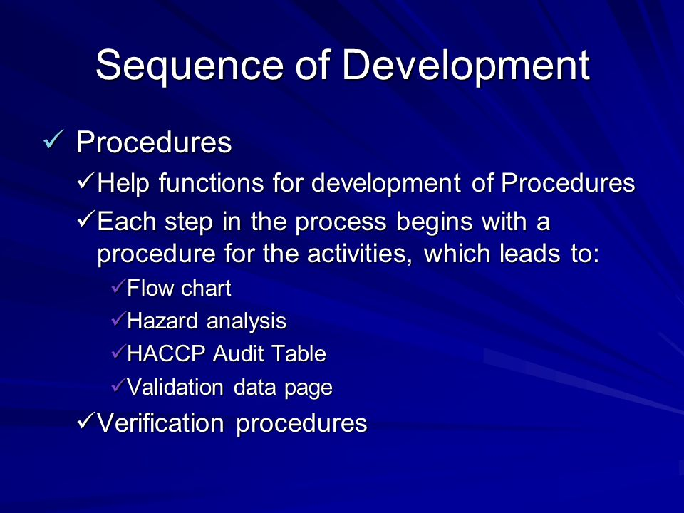 Sequence of Development