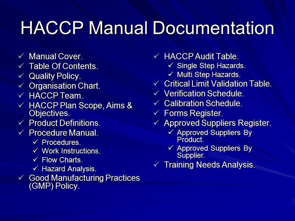 HACCP Manual Documentation