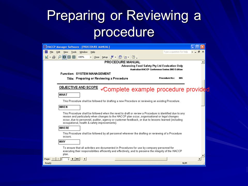 Preparing or Reviewing a procedure