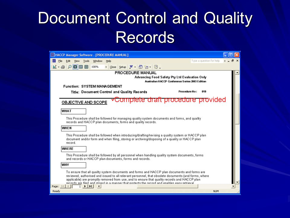 Document Control and Quality Records