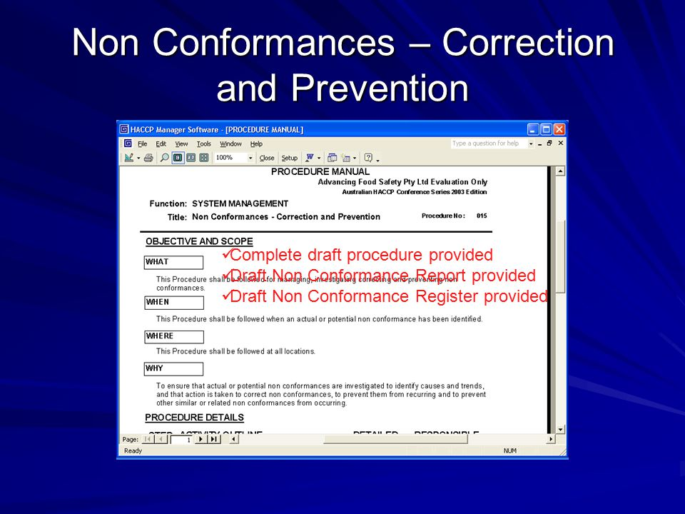 Non Conformances – Correction and Prevention